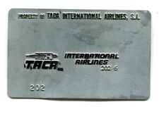 Vintage Airline Ticket Validation Plate TACA INTERNATIONAL AIRLINES travel agent