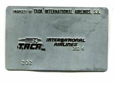 Vintage Airline Ticket Validation Plate TACA INTERNATIONAL AIRLINES travel agent