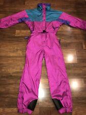 Vtg 80s 90s Womens Large COLUMBIA One Piece SKI SUIT Snow Bib Snowsuit Pink L
