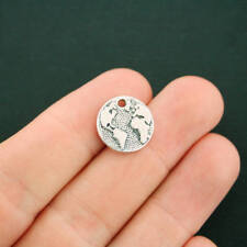 10 Globe Charms Antique Silver Tone Earth Great Detail - SC7349