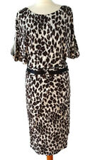 Karen Millen Size 16 White Black Leopard Print Pencil Dress Short Sleeve Midi