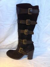 Next Black Mid Calf Suede Boots Size 4