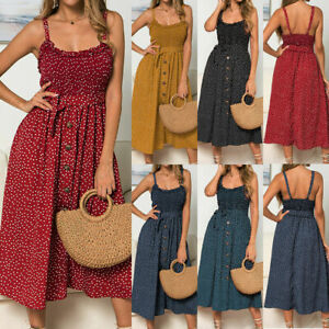 Womens Holiday Strappy Polka Dot Midi Dress Ladies Summer Beach Button Sundress
