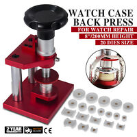 "8"" Crystal Bezel Press Case Back Closing Bench Rotate Watch Repair Tool 20 Dies"