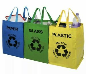 New Heavy Duty Reusable Pack Of 3 Recycle Bags With Strong Handles Colour Coded