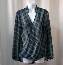 CHELSEA & VIIOLET Women's Blue Green Checkered Long Sleeve Blouse Size M