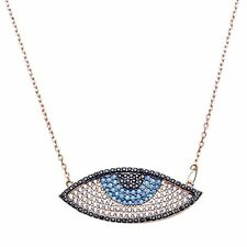 Rose Gold Plated Nano Turquoise & Black Cubic Zirconia Evil Eye Pendant Necklace