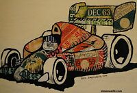 Limited edition signed postcard of original art from tax discs: Formula 1, F1