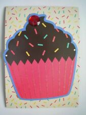 C.R.GIBSON ~ GLITTERY CUPCAKE WITH CHERRY GEM BIRTHDAY GREETING CARD + ENVELOPE