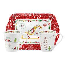 Pimpernel Vœux De Noel Simple Tasse En Porcelaine & Plateau En Mélamine Set Noël