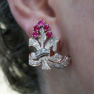 "Antique Rubies & Diamond Floral Earrings in 18K Yellow Gold Over ""Rocking Retro"