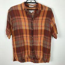 Geoffrey Beene Shirt Size M Orange Plaid Linen Rayon Short Sleeve Button Front