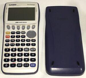 Casio fx-9750GII Scientific Graphing Calculator USB White + Blue Sliding Cover