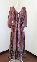 Forever 21 Striped Geometric Floral Maxi Dress Size S Boho Peasant Hippie