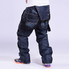 Men's Denim Waterproof Ski Pants Denim Outdoor Sports Snowboard Jeans Trousers