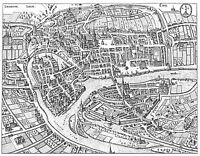 MAP ANTIQUE MERIAN 1647 LIEGE CITY PLAN OLD LARGE REPLICA POSTER PRINT PAM1076