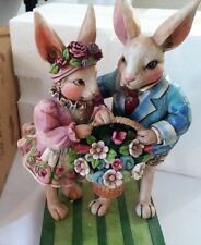 "Jim Shore Heartwood Creek ""Happy Together"" Bunny Couple w/Basket"