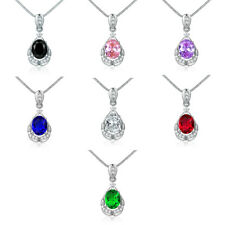 Drop Pear Pendant Colorful Sapphire Silver White Gold Filled Women Lady Necklace
