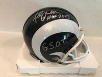 Marshall Faulk Signed Riddell NFL L.A. Rams Mini Helmet GSOT COA Hologram
