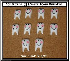 8 DENTIST TOOTH Message Board Thumb Tacks Office Push Pin TEETH Smiley Face
