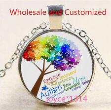 Autism Spectrum Tree Cabochon Tibetan silver Glass Chain Pendant Necklace #3485