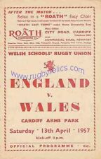 WALES v ENGLAND SCHOOLS UNDER 16 1957 RUGBY PROGRAMME