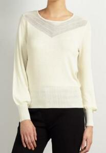 New Somerset by Alice Temperley Pointelle Knit Jumper Cream Size UK 6        B47