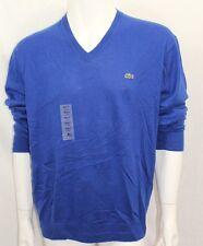 Lacoste Men's Sweater V-Neck L-Sleeve Blue Sz 7=XLarge NWT Cotton/Cachemire