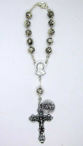 Silver Tone Rose Bead Auto Car Mirror Decade Rosary w St Christopher Medal Italy