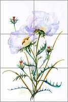 Ceramic Tile Mural Backsplash Libby Poppy Flowers Floral Art SLA048