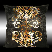 LUXURY SHINY BLACK GOLD DAMASK VELVET DECO THROW PILLOW CASE CUSHION COVER 17""