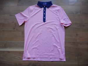 NWT Stitch Golf Polo Shirt Pink with Blue Collar FireRock Logo Medium