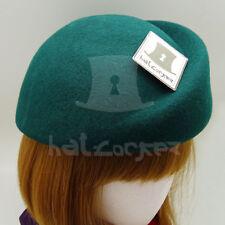 VINTAGE Wool Felt Women Beret Pillbox Hat Groove Stewardess NEW   57cm   Green