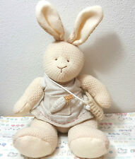 """Russ Berrie & Co. Bunny Patch 4194 11"""" Rare Beige Knitted Look with Dress"""
