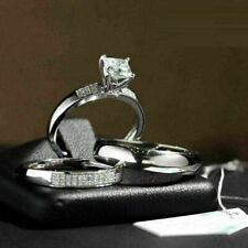 Gorgeous Ring Band 925 Sterling Silver Princess Cut Cz 1.50 Ct Engagement Unisex