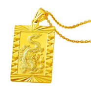 """24k Yellow Gold Bold Dragon Pendant - 20"""" 24"""" 30"""" Chain Link Rolo Necklace D451"""
