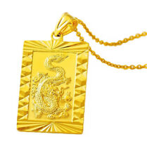 """24k Yellow Gold Bold Dragon Pendant - 20"""" 24"""" 30"""" Chain Link Necklace D451G"""