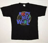 Vtg 80s Cronies Rock And Roll Hall Of Fame Mens XL Black S/S T-Shirt D6