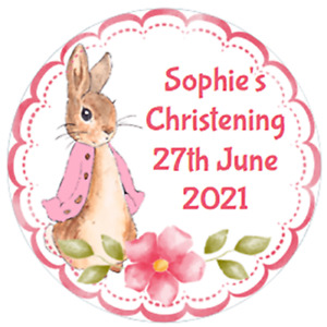 48 Personalised Christening Baptism Stickers FLOPSY BUNNY  40mm Labels