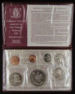 1983 NEW ZEALAND - OFFICIAL BU MINT SET (7) w/ 50 YRS. COINAGE $1 - ORIG. PKG