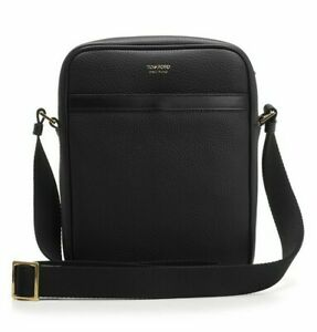 Tom Ford Black Leather Crossbody Messenger Side Bag Buckley Black