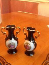 """Limoge Castel 22K Gold Trim Cobalt Blue 6 1/4"""" Porcelain Vase"""