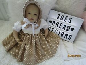 CLOTHES FOR BABY 3-6 mths REBORN 20-22IN  BEIGE SPOT  COTTON DRESS SET NEW