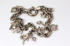 Lovely Italian Sterling Silver Charm Bracelet Horses, Birds Musical Notes - 2251