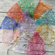 100Pcs/SetMoon Star Organza Gift Bags Wedding Favor Jewelry Drawstring Pouches