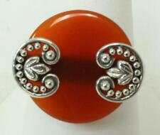 Orange Stone & Flower&Bead Accent On Top 925 India Sz 9 Ring W/Round Burnt