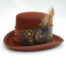 STEAMPUNK MINI TOP HAT FASCINATOR BROWN WOOL, FAUX LEATHER BAND, GEARS , FEATHER