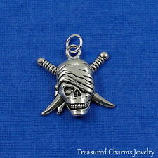 Silver PIRATE SKULL CHARM with Crossed Swords PENDANT