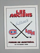 NHL MONTREAL CANADIENS LAST OLDTIMERS GAME AT THE MONTREAL FORUM PROGRAM LINE-UP