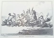 1940s James Gillray 1800 Caricature HOUNDS THROWING OFF etching PRINT Rare vtg
